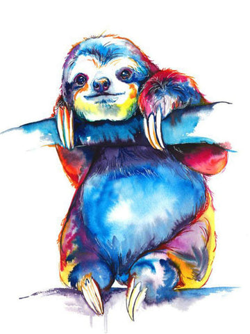 Colorful Hand Drawing Sloth Diamond Painting Art