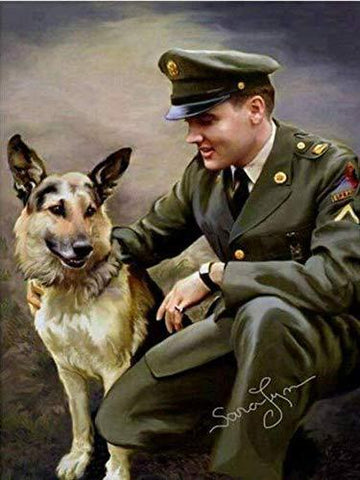 American Solder with Dog Painting Military Diamond Painting Art