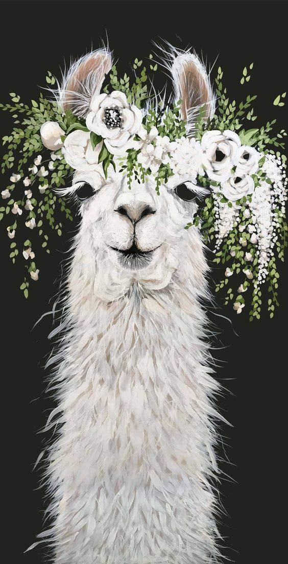 Whtie Floral Wreath Llama Diamond Painting Art