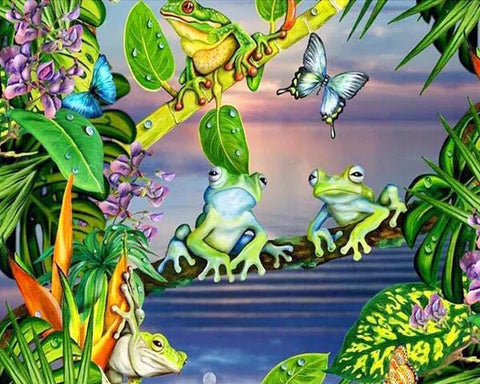 Rainforest Butterfly with Frogs Diamond Painting Art