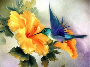 Blue Hummingbird Feeding on Yellow Floral Diamond Painting Art