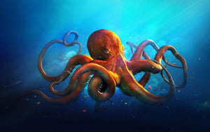 Deep Ocean Orange Octopus Diamond Painting Art