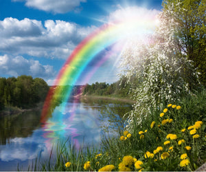 Nature Lake Scenic with Rainbow Diamond Painting Art