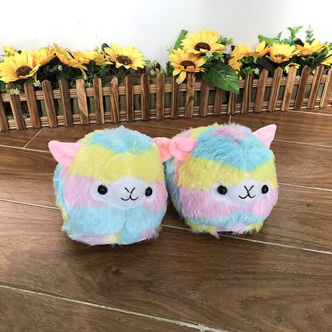 Alpaca Llama Slippers Women Fluffy House Shoes