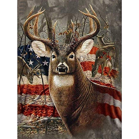 American Flag with Wild Deer Diamond Painting Kits