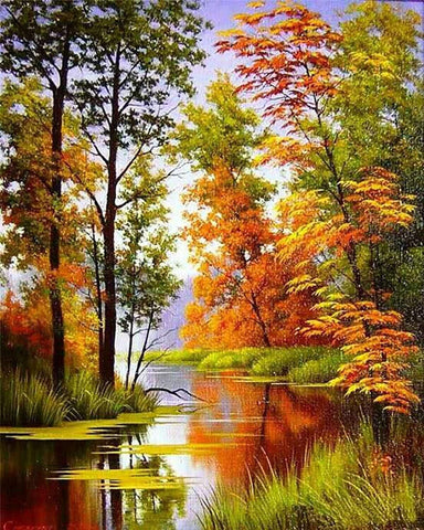 Autumn Lake Scenic View Diamond Painting Art
