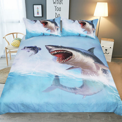 Awesome Great White Shark Jumping Duvet Covers Bedding Sets