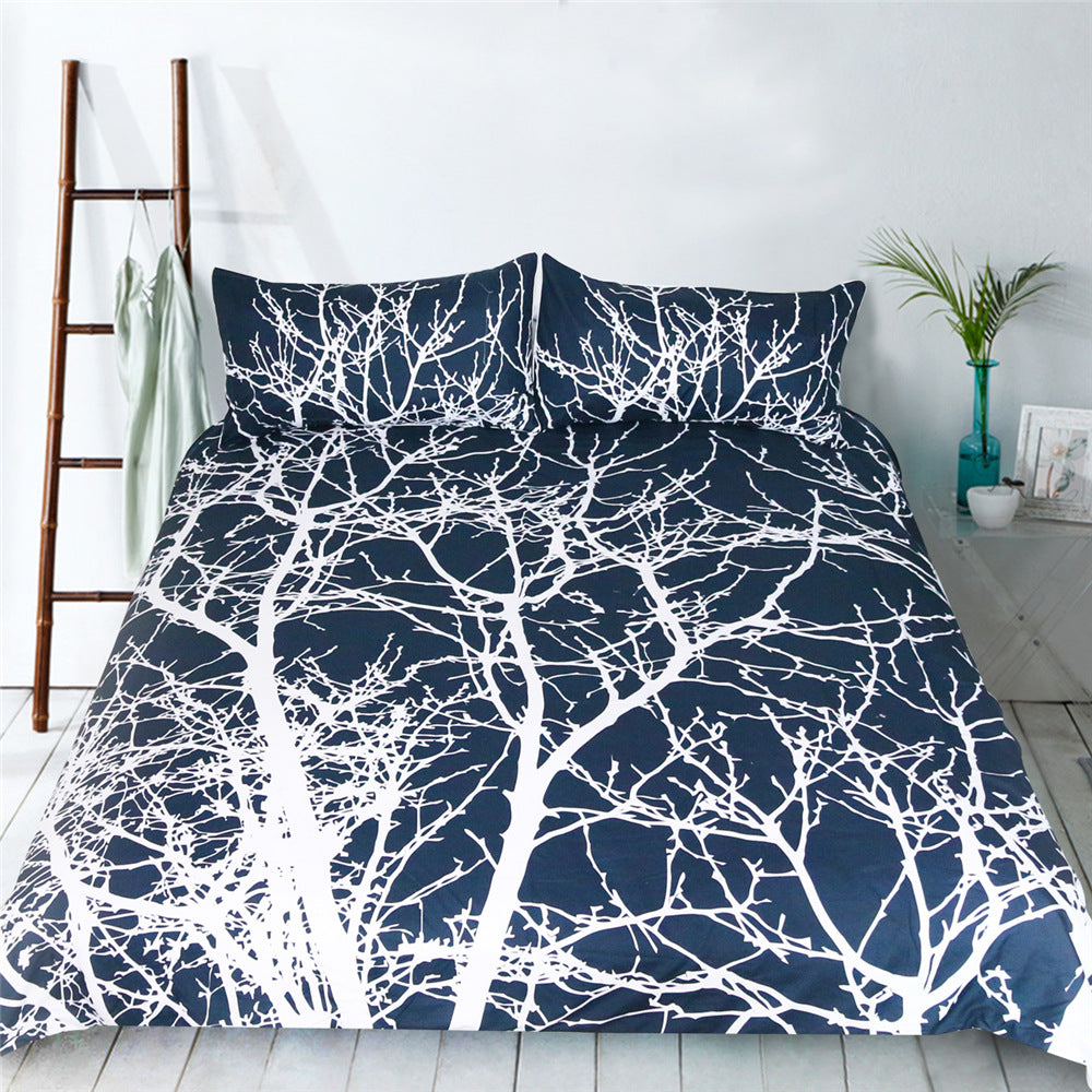 Blue Backdrop Unique White Tree Branch Design Duvet Covers Bedding Sets