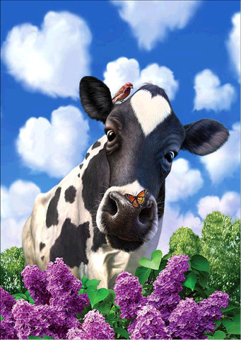 Blue Sky Daisy Cow Cattle Feed Diamond Painting Kits