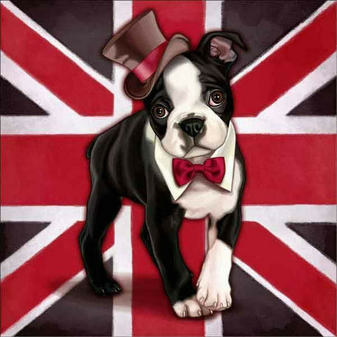 Boston Terrier Dog English Gentleman Cosplay Diamond Painting Art Kits