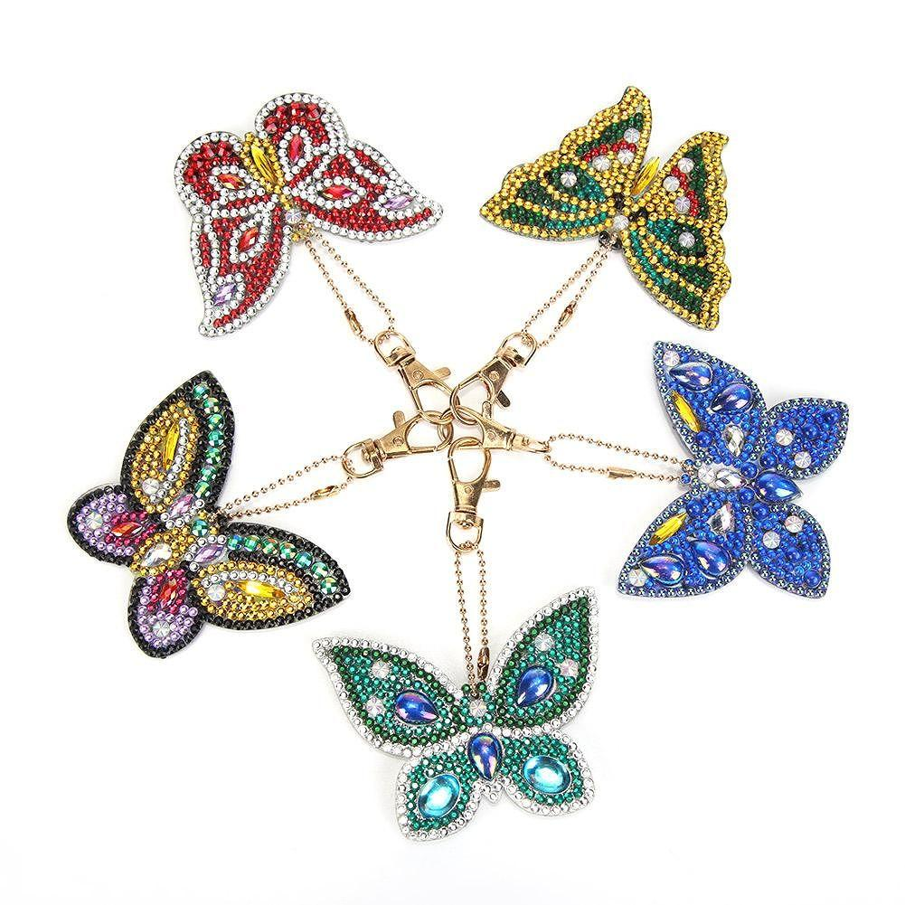 Butterfly DIY Diamond Painting Keychains Rings Kits Pendant - 5PCs