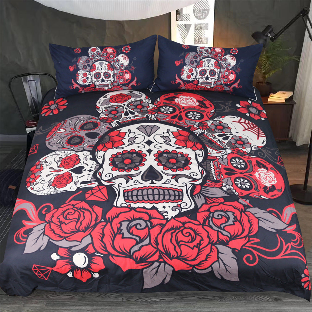 Candy Sugar Skull with Red Rose Flowers Duvet Covers Bedding Sets