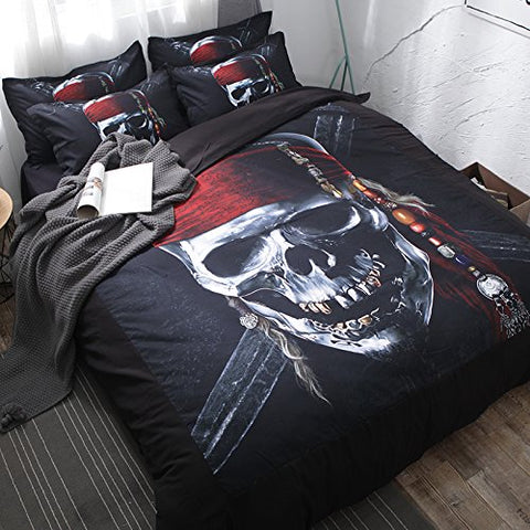 Caribbean Pirate Skull Skeleton Duvet Covers Bedding Sets