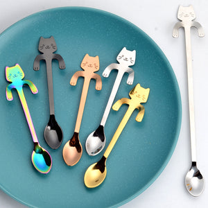 Cartoon Cat Espresso Spoons Stainless Steel Dessert Cake Spoon - 5 Pieces