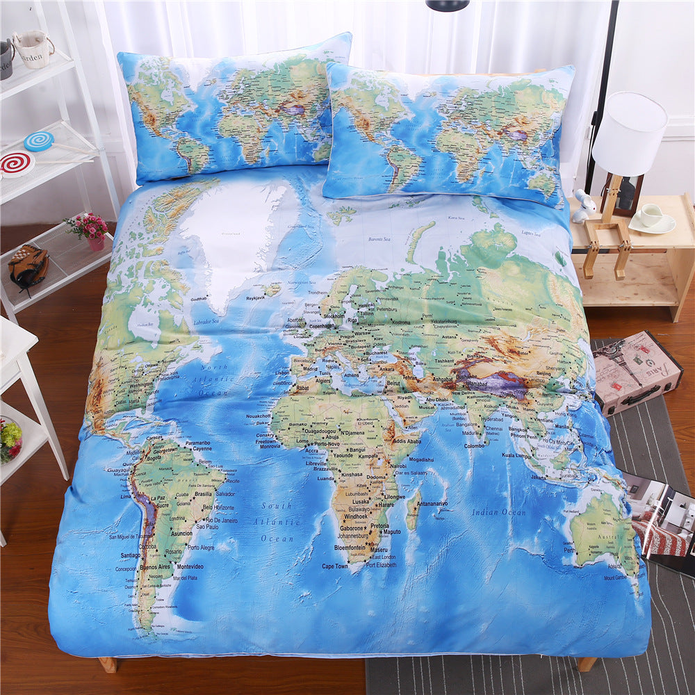Clear World Map Duvet Covers Bedding Sets