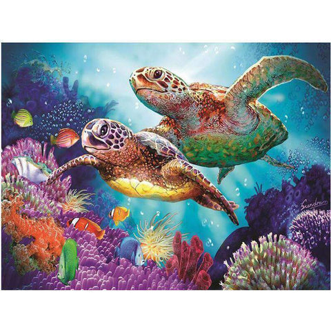 Colorful Undersea Coral Sea Turtle Diamond Painting Kits