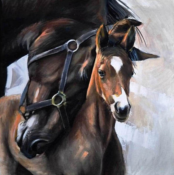 Colt Foal Horse Love Diamond Painting Art