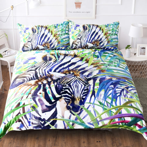 Couple Zebra in the Jungle Duvet Covers Bedding Sets