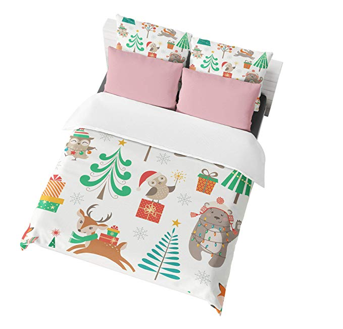Cute Birds with Gift Kids Christmas Duvet Covers Bedding Sets