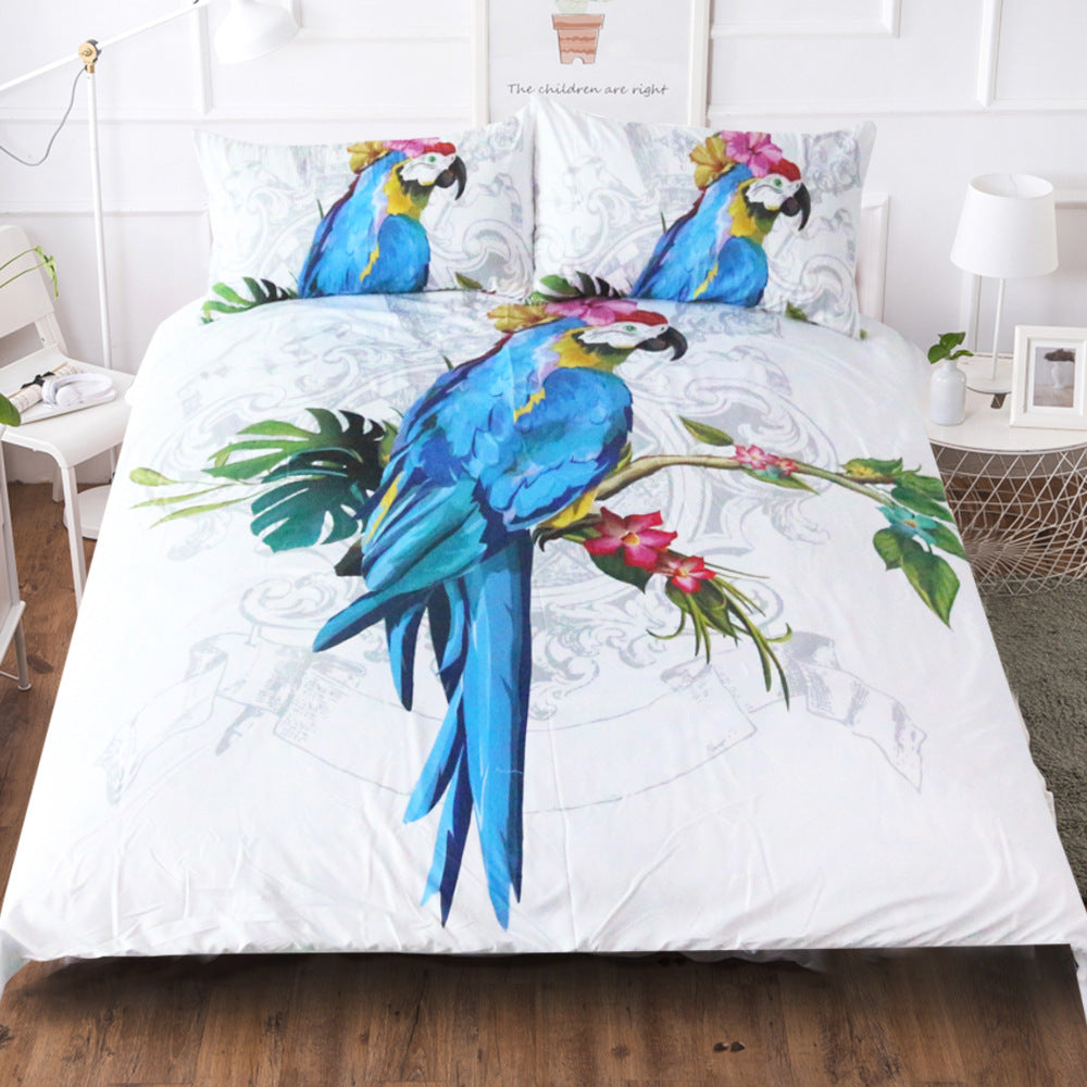 Elegant Blue Parrot Hanging Tree Duvet Covers Bedding Sets