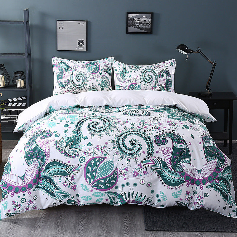 Elegant Green Paisley with Floral Pattern Duvet Covers Bedding Sets