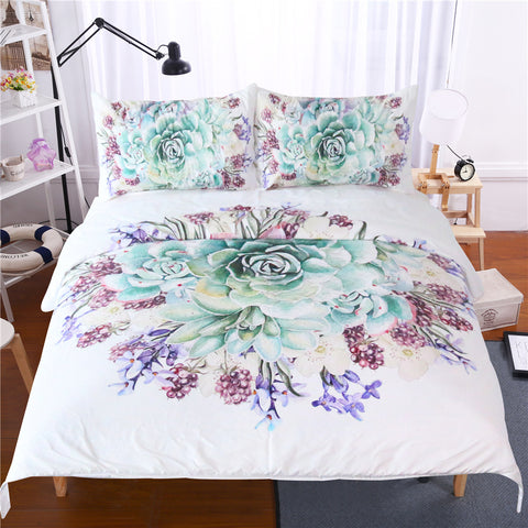 Elegant Tropical Succulent Cactus Duvet Covers Bedding Sets