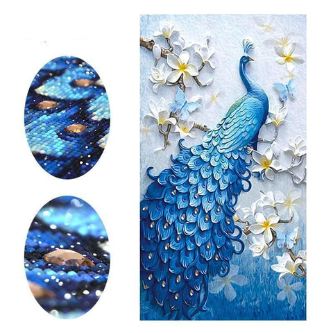 Elegant Turquoise Peacock Embroidery Paintings 5D Full Drill Diamond Painting