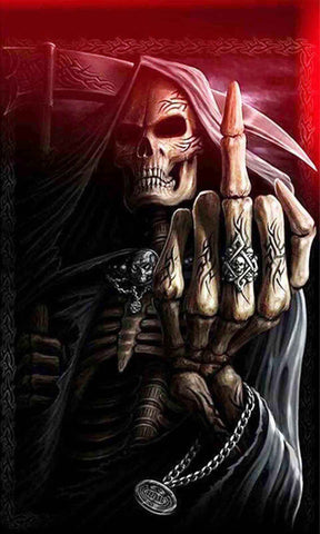Evil Grim Reaper Middle Finger Skull Diamond Painting Kits