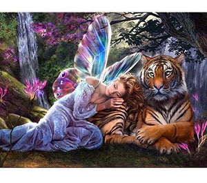 Fairy Sleeping with Tiger at Forest Diamond Painting Art