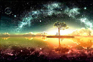 Fantasy Galaxy Sky Lake with Tree Diamond Painting Art