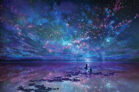 Fantasy Sky Night Galaxy Romantic Soulmates Diamond Painting Art
