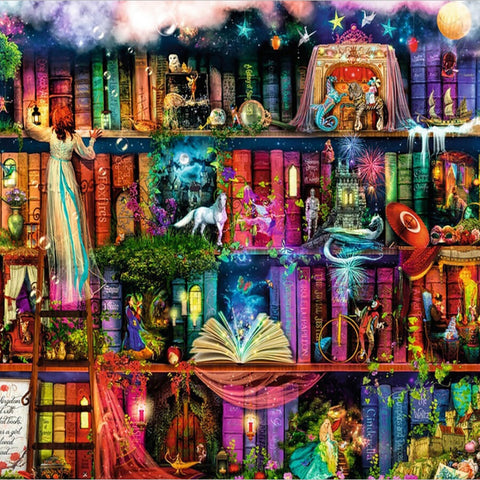 Fantasy Magic World Book Bookshelf Diamond Painting Kits