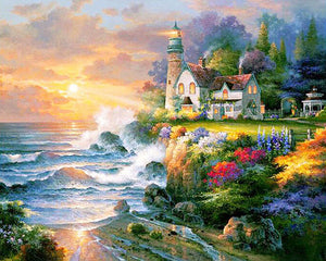 Farmhouse Country Lighthouse by the Sea Diamond Painting Kits