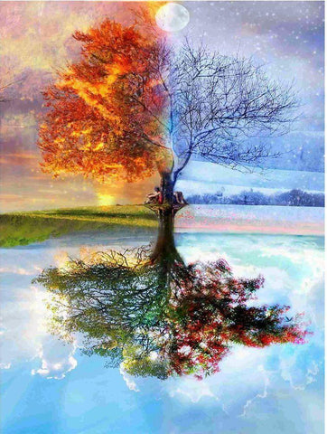 Four Season Tree Landscape 5d Diamond Painting
