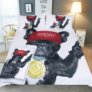 Funny Puppy Bulldog Win Medal Take Selfie Duvet Covers Bedding Sets