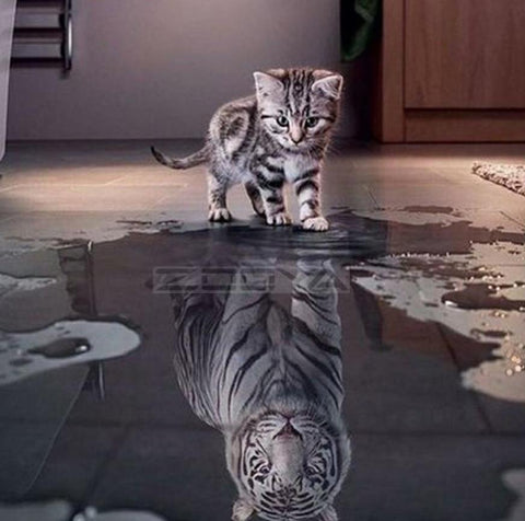 Funny White Cat Tiger Reflection in Water 5d Diamond Painting