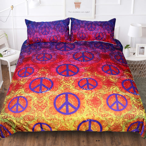 Gold and Purple Peace Symbol Seamless Duvet Covers Bedding Sets