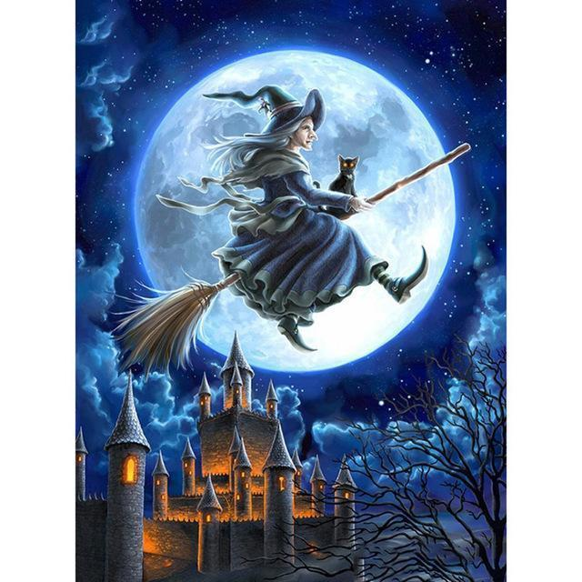 Halloween Witch Flying on Broomstick Moonlight Diamond Painting Kits