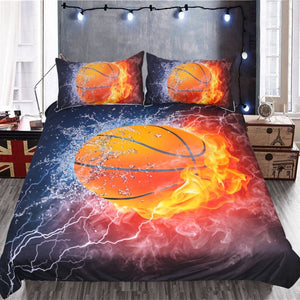 Ice with Fire Backdrop Basketball Sport Bedding Sets
