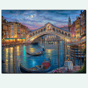 Italy Country Venice City Boat Bridge Night View Diamond Painting Art Kits