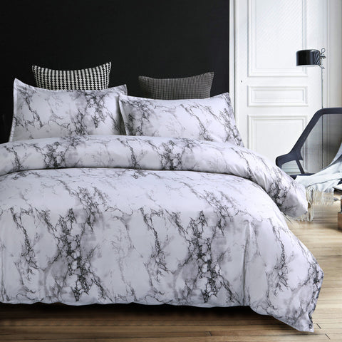 Natural Noble White Marble Texture Bedding Sets
