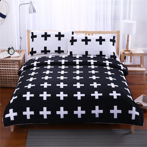 Nordic Black White Plus Cross Pattern Duvet Covers Bedding Sets