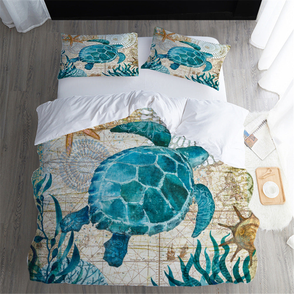 Old Age Vintage Green Sea Turtle Duvet Covers Bedding Sets