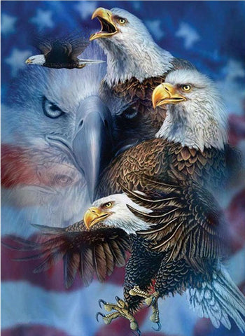 Patriotic American Flag with Eagle Diamond Painting Kits