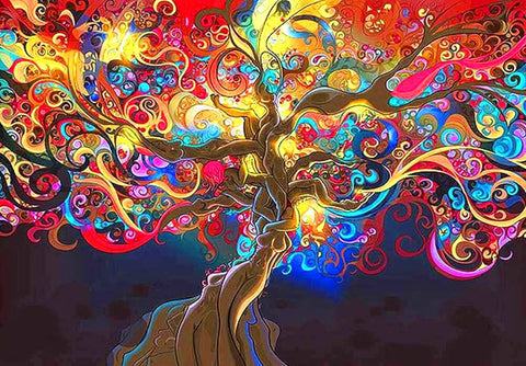 Psychedelic Trippy Tree Diamond Painting Kits