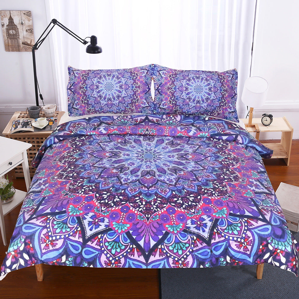 Purple Glowing Boho Mandala Duvet Covers Bedding Sets