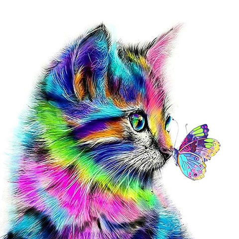Rainbow Color Cat with Butterfly Diamond Painting Kits