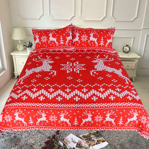 Red Christmas Deer Seamless Pattern Duvet Covers Bedding Sets