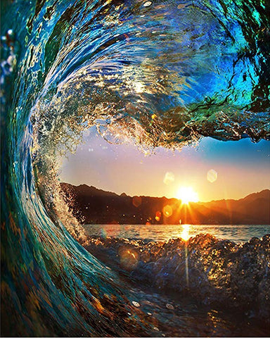 Rough Colored Beach Ocean Wave Falling Down at Sunset Diamond Painting Kits