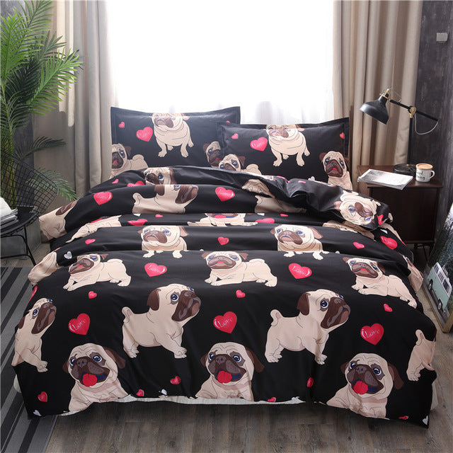 Seamless Pug Love Duvet Covers Bedding Sets